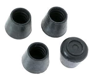 Shepherd 9125 5 8 Inch Black Rubber Leg Tips 4 Pack Furniture Cups