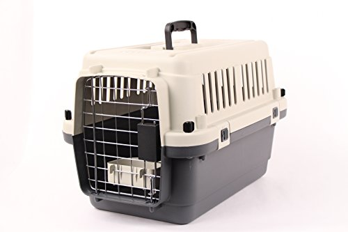 Pet-Kennel-Direct-20-Airline-Approved-Plastic-Dog-Cat-Pet-Kennel-Carrier-or-Air-Travel-with-Chrome-Door-and-Food-Water-Cup-Foldable-Dog-Travel-Crate
