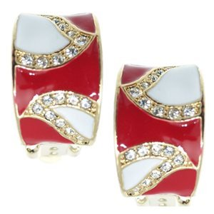 Tutti Gold Red White Crystal Clip On Earrings