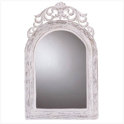 Koehlerhomedecor Indoor Decorative Filigree Arched Top White Wall Mirror