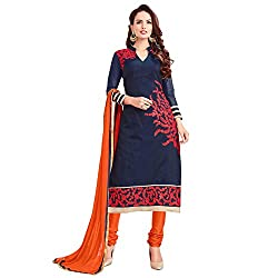 Fashion Queen Presents Navy Blue Colored Unstitched Dress Material