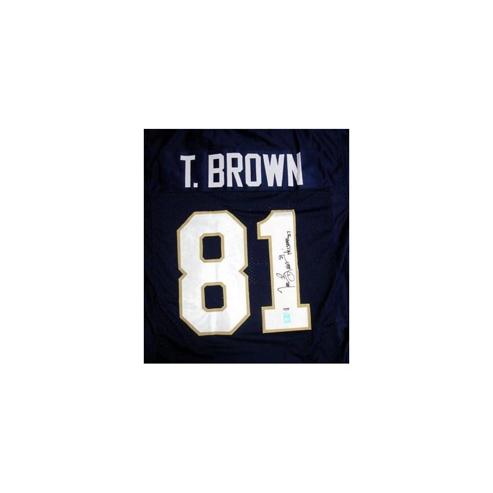 548021724 Tim Brown Autographed Uniform Notre Dame Heisman 87 PSA DNA on PopScreen