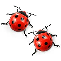 Extra Large Ladybird Garden Wall Decorations (2 Pack) Ladybugs with fixings by Garden Wall Decor