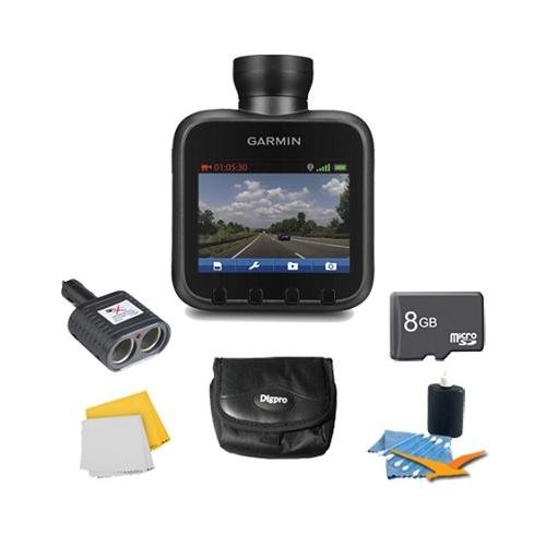 Dash Cam 10 Standalone HD Driving Recorder Plus Deluxe 8GB Accessory Bundle. Bundle Includes Dash CAm 10, 8GB Micro SD Memory Card, International 2 Socket Cigarette Lighter Adapter, Deluxe Carrying Case, Cleaning Kit, and Micro Fiber Cleaning Cloth.