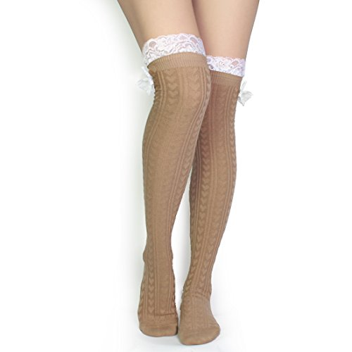 kilofly Women's Lace Trim Knee-High Boot Socks