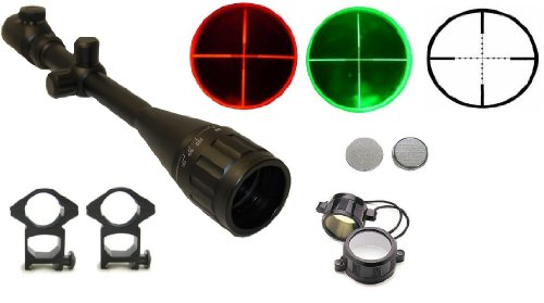 """Ultimate Arms Gear 6-24X50 Dual Red & Green Iluminated Tactical P4 Mil Dot Rangefinder Rifle Hunting Sniper Scope + Premium 7/8"""" High Profile See-Thru Scope Rings, Lithium Battery, See Thru Lens Caps, & Lens Cleaning Kit"""