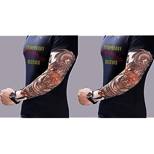 ちょい悪! タトゥー スリーブ TATOO SLEEVE 両腕 SET なりきりアイテム アームカバー 日焼け予防 タイガー & ドラゴン