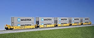Kato USA Model Train Products Gunderson MAXI-I TTX #750977 Double Stack Car Set with Maersk 40' Containers, 5-Unit Set by Kato USA Model Train Products