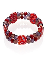 M&S Collection Assorted & Multi-Faceted Floral Bead Bracelet