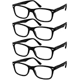 Reading Glasses Set of 4 Black Quality Readers Spring Hinge Glasses for Reading for Men and Women +3