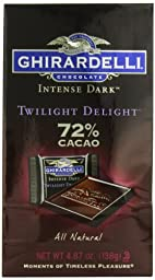 Ghirardelli Chocolate Intense Dark Squares, Twilight Delight 72% Cacao, 4.87-Ounce Bags (Pack of 8)