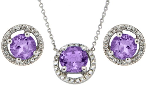 9ct White Gold 0.792ct Diamond & Amethyst Set of Round Earrings and Necklace 40cm/16