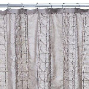 Amazon Home Taupe Pintuck Squares Shower Curtain