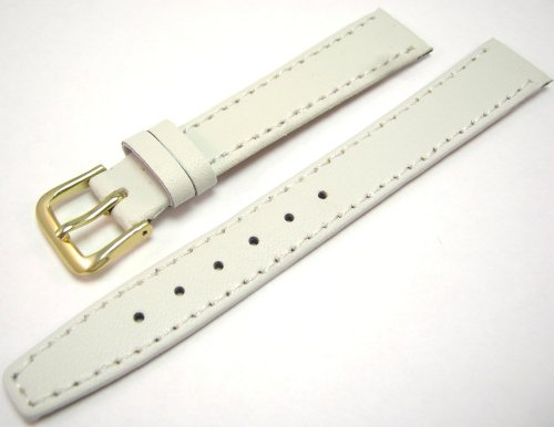 White Leather Watch Strap Band With A Stitched Edging And Nubuck Lining 14mm