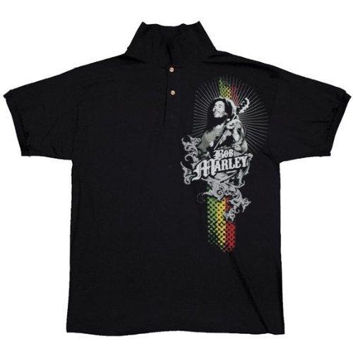 Old Glory Mens Bob Marley - Rastaman Polo - Small Black