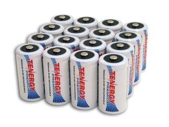 16 pcs of Tenergy Premium C Size 5000 mAh high capacity High Rate NiMH Rechargeable Batteries
