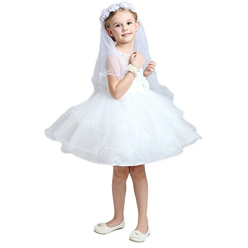 QYdress Flower Girl Veil For First Communion And Wedding Party (White)