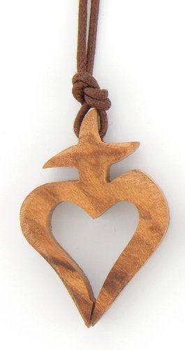 Heart Cross Wooden Necklace