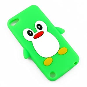 Cute Lovely 3D Green Silicone Rubber Soft Penguin Case Cover Skin for Apple iPod touch 5 5th Generation