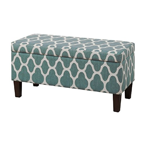 HomePop Upholstered Decorative Storage Ottoman, Teal Blue (Decorative Storage Bench compare prices)