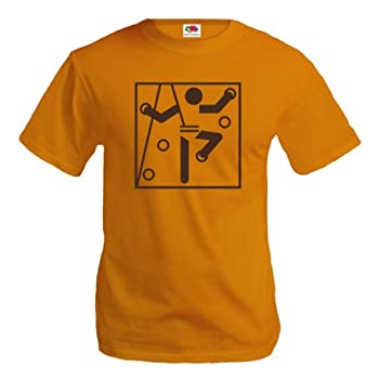 T-Shirt Mur d Escalade - Climbing Wall-Pictogramme-S-Orange-Brown