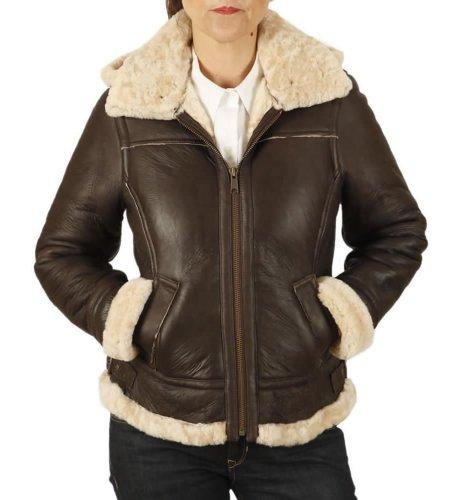 Simons Leather Women's Hooded Shaped Sheepskin Flying Jacket 16 Dark Brown