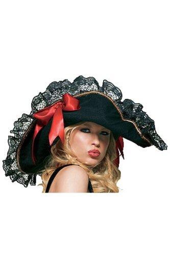 Ladies black halloween pirate party hat fancy dress hen party