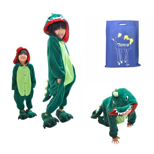 "Zicac Unisex Adult Children Kids Anime Cosplay Costumes Onesie Children And Adult Children Kids Pajamas Pyjamas Sleepwear Nightclothes Cosplay Gift For Hallowmas (Children Height 120-130Cm(47""-51""), Green Dinosaur) front-648841"