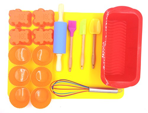 MorningRising 17 pieces Introduction to Silicone Baking Set for Kids