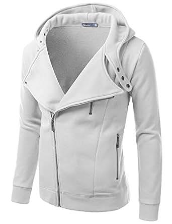 Doublju Mens Rider Hood Asymmetry Zip Up,RIDERHOOD_White,Large / US Medium