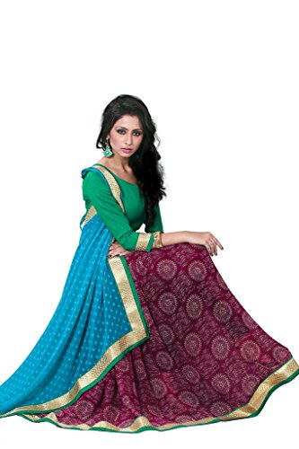 Sourbh Sarees Turquoise And Wine Printed Jacquard and Faux Georgette Half Half Saree with Unstitched Blouse Piece