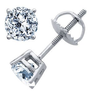 1.10 Carat G/SI1 Round Certified Diamond Solitaire Stud Earrings in 18ct Solid White Gold