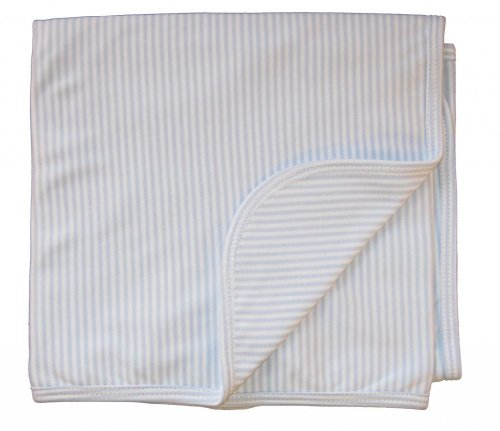 Kissy Kissy Baby Stripes Striped Blanket-White With Blue-One Size