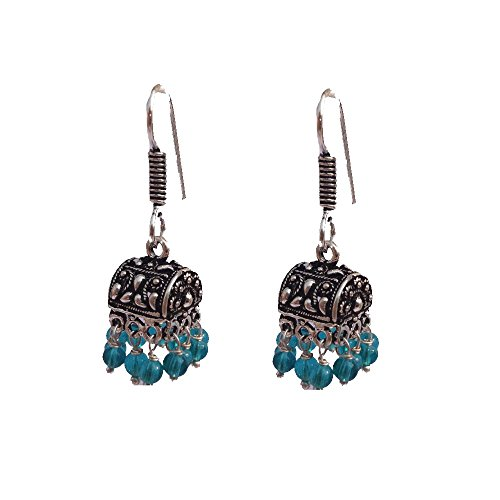 Kaizer Jewelry HandiCraft HandMade High Quality German Silver Jhumki with Black beads (Better than Oxidized) Jhumka For Women / Girls (Gift)  available at amazon for Rs.199
