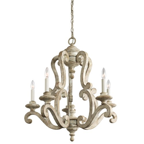 Kichler Lighting 43256DAW Hayman Bay 5-Light Chandelier, Distressed Antique White Finish