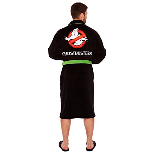 Official Ghostbusters 80s Logo Black Fleece Dressing Gown - Bathrobe