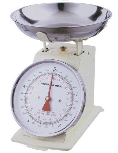 Balance de cuisine mécanique avec bol, style rétro, couleur crème