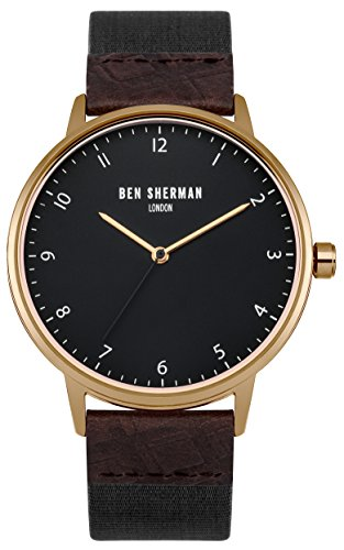Ben Sherman Men's Quartz Watch with Black Dial Analogue Display and Brown Fabric Strap WB049BRG