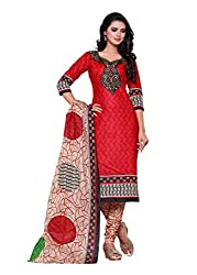 SayShopp Fashion Women's Unstitched Regular Wear Cotton Printed Salwar Suit Dress Material (ZDM-10_Red_Free Size)
