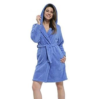 Damen Bademantel mit Kapuze Kurz Saunamantel Morgenmantel / Made in EU, Farbe: Blau, Größe: S