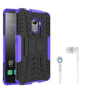 Chevron Tough Hybrid Armor Back Cover Case with Kickstand for Lenovo K4 Note With Chevron 3.5mm Purple Stereo Earphones (Purple)