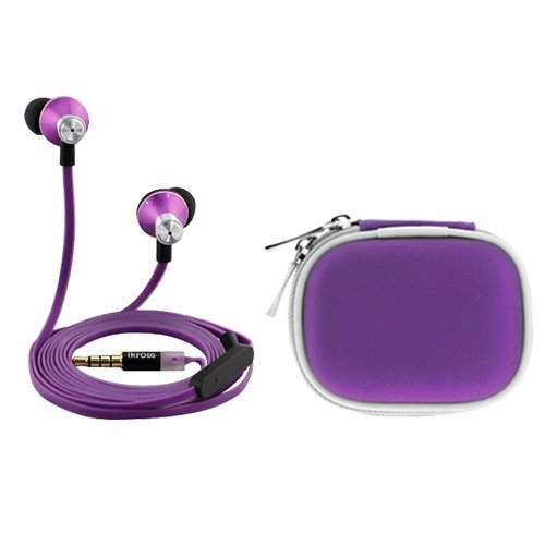 Ikross Purple In-Ear 3.5Mm Noise-Isolation Stereo Earbuds With Microphone + Purple Accessories Carrying Case For Samsung Galaxy S5; Lg G3, Volt, Optimus Exceed 2, Optimus L90, Optimus L70, Lucid 3, Optimus Zone 2, Extravert 2, G Pro 2, G2