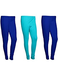 Indistar Women Cotton Legging Comfortable Stylish Churidar Full Length Women Leggings-Blue/Turquoise-Free Size-Pack...