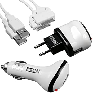 mumbi 4-in-1 Zubehörset für Apple iPhone/iPod (1 x USB Netzteil Ladegerät, 1 x KFZ Ladekabel, 2 x USB Datenkabel)
