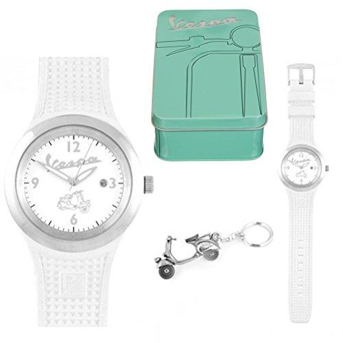 coffret-cadeau-montre-blanche-vespa-homme-et-porte-cles