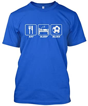 Eat Sleep Blues Mens Blue Football Fan T-Shirt (Small)
