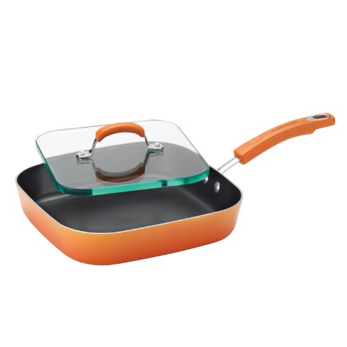 Rachael Ray Porcelain Enamel II Nonstick Square Deep Griddle and Glass Press, 11-Inch, Orange Gradient (Folding Iron Press compare prices)