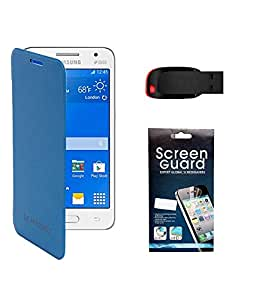 KolorEdge Flip Cover with Screen Protector with 4Gb Sandisk Pen Drive For Samsung Galaxy Core 2 - SM G355H - Blue