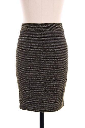 G2 Chic Metallic Striped Pencil Knit Skirt(BTM-SKT,GLD-L) Image