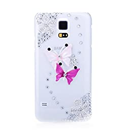 Samsung Galaxy S5 Case, Sense-TE Luxurious Crystal 3D Handmade Sparkle Glitter Diamond Rhinestone Ultra-Thin Clear Cover with Retro Bowknot Anti Dust Plug - Dance Butterfly / Colorful